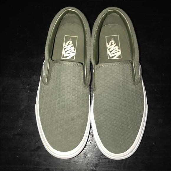 Vans Shoes | Olive Green Slip Ons